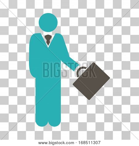 Businessman icon. Vector illustration style is flat iconic bicolor symbol, grey and cyan colors, transparent background. Designed for web and software interfaces.
