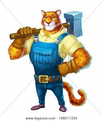 Cute cartoon leopard . Builder profession. Friendly builder character illustrations isolated on white background.
