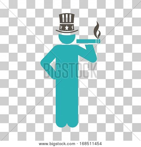 Capitalist icon. Vector illustration style is flat iconic bicolor symbol, grey and cyan colors, transparent background. Designed for web and software interfaces.