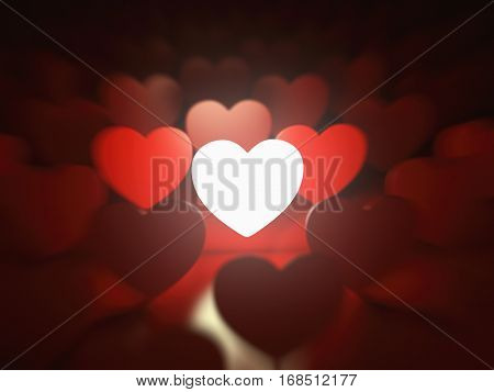 Valentine's day background. Love concept. One glowing heart in a row of red hearts. 3d illustration