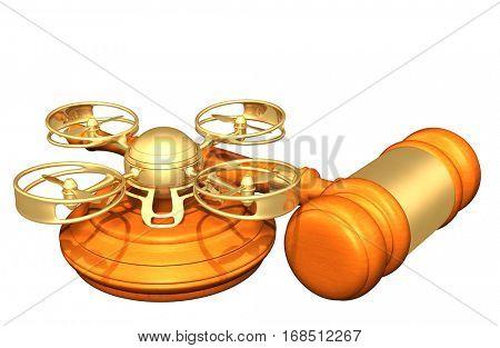 Drone Legal Gavel Concept 3D Illustration
