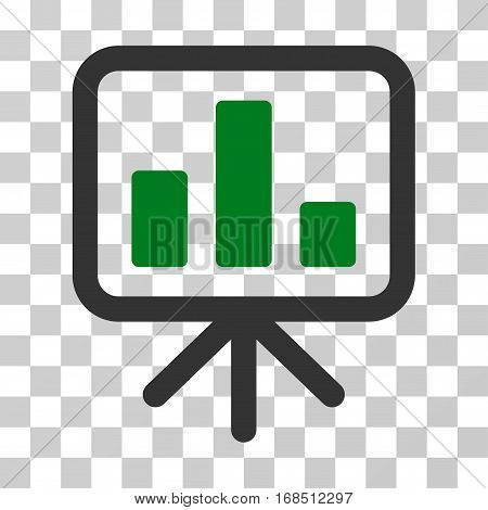 Bar Chart Display icon. Vector illustration style is flat iconic bicolor symbol, green and gray colors, transparent background. Designed for web and software interfaces.