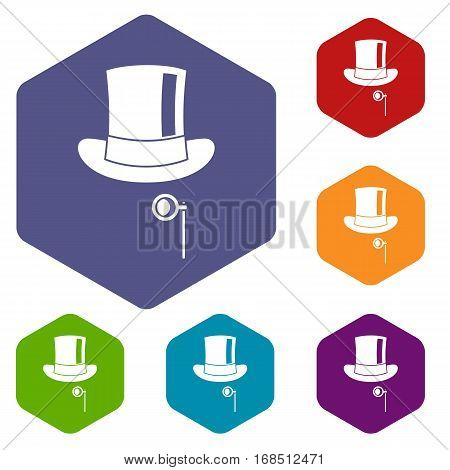 Hat with monocle icons set rhombus in different colors isolated on white background