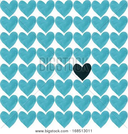 Dark heart with a crowd of other light blue hearts. Deep blue heart drawn by watercolor and a lot of sky blue separate hearts around.