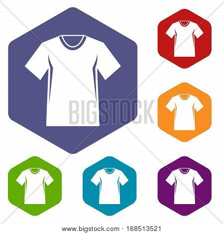Men tennis t-shirt icons set rhombus in different colors isolated on white background