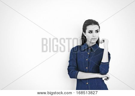 Young woman with color accent in fashion look on white background
