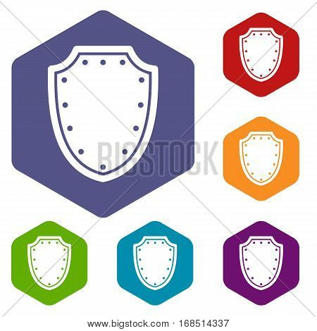Army protective shield icons set rhombus in different colors isolated on white background
