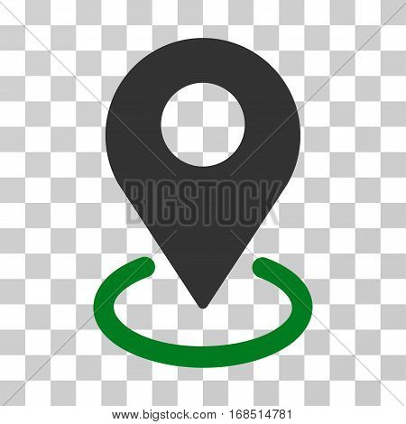 Geo Targeting icon. Vector illustration style is flat iconic bicolor symbol, green and gray colors, transparent background. Designed for web and software interfaces.