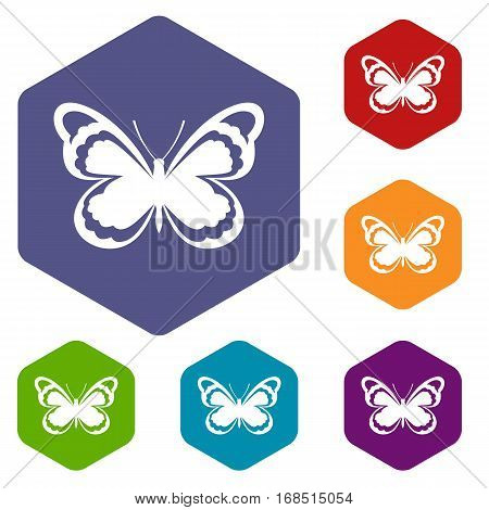 Small butterfly icons set rhombus in different colors isolated on white background