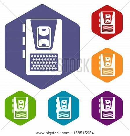 Dictaphone icons set rhombus in different colors isolated on white background