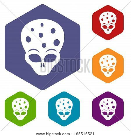 Extraterrestrial alien head icons set rhombus in different colors isolated on white background