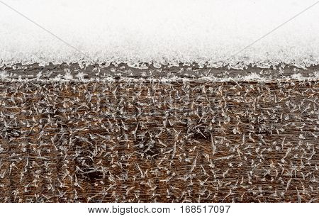Frost Covered Brown Wood