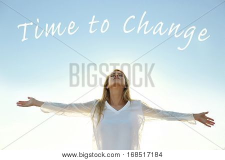 Young woman and text TIME TO CHANGE on sky background