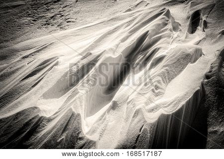 Toned Snow Drift And Shadows