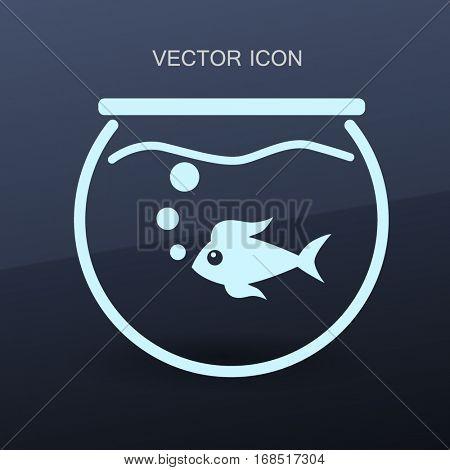 Aquarium and fish vector icon