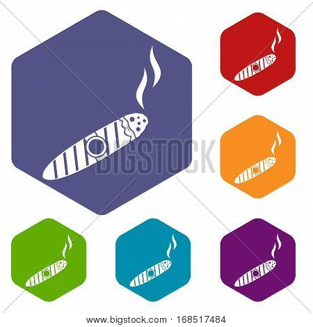 Cigar icons set rhombus in different colors isolated on white background