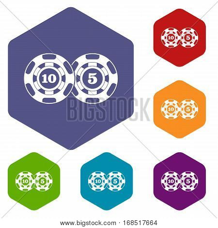 Poker chips nominal five and ten icons set rhombus in different colors isolated on white background