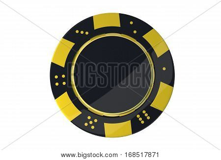 Casino Game Chip Isolated on White Background. Yellow Black Chip 3D Rendered Illustration.
