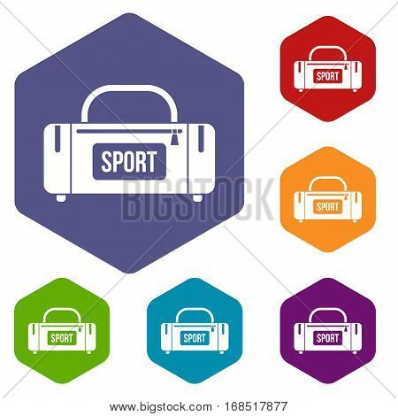 Large sports bag icons set rhombus in different colors isolated on white background