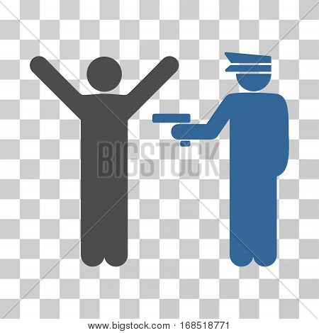 Police Arrest icon. Vector illustration style is flat iconic bicolor symbol, cobalt and gray colors, transparent background. Designed for web and software interfaces.