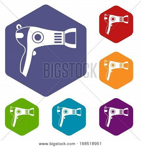 Hairdryer icons set rhombus in different colors isolated on white background
