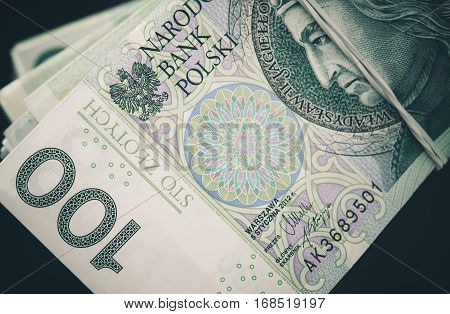 Polish Zloty Banknotes Closeup Photo. Polish Currency Business Photo Theme.