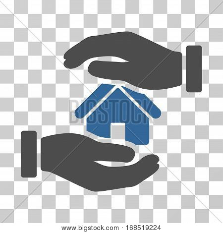 Realty Insurance icon. Vector illustration style is flat iconic bicolor symbol, cobalt and gray colors, transparent background. Designed for web and software interfaces.