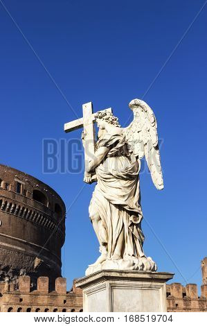 Angel statue with a cross, Castel Sant'Angelo, Rome, Italy