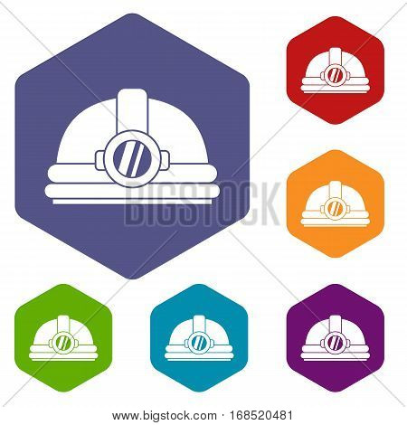 Helmet with light icons set rhombus in different colors isolated on white background