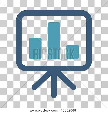 Bar Chart Display icon. Vector illustration style is flat iconic bicolor symbol, cyan and blue colors, transparent background. Designed for web and software interfaces.