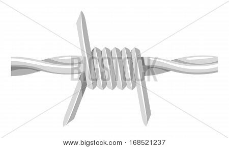 Barbed Wire. Monochrome Vector Illustration. Fence Wire