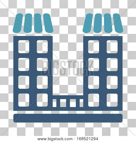 Company icon. Vector illustration style is flat iconic bicolor symbol, cyan and blue colors, transparent background. Designed for web and software interfaces.