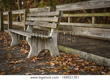 During Autumn a weathered park bench along the lake in Sharon woods Park located in Cincinnati, OH.