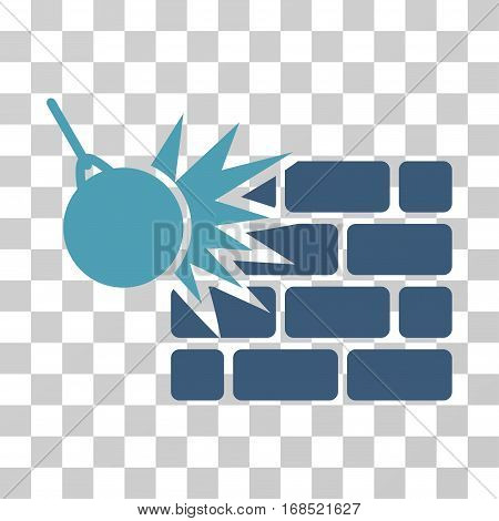Destruction icon. Vector illustration style is flat iconic bicolor symbol, cyan and blue colors, transparent background. Designed for web and software interfaces.