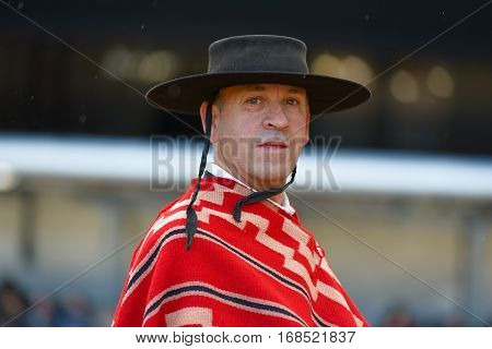 Buenos Aires, Argentina - Jul 16, 2016: A gaucho during a horse show at the La Rural.