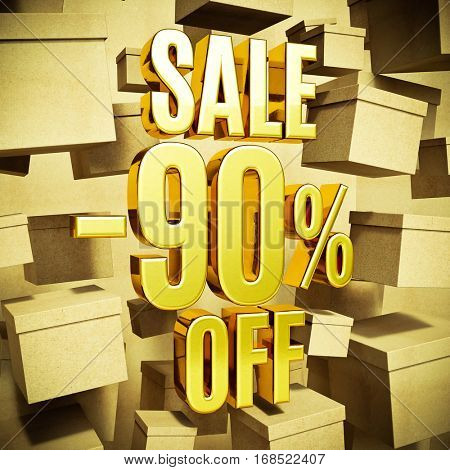 Gold 90 Percent Off Discount 3d Sign with Packaging Boxes Sale Banner Template, Special Offer 90% Off Discount Tag, Golden Sale Sticker, Gold Sale Symbol, Gold Sticker, Banner, Advertising, Sale Badge
