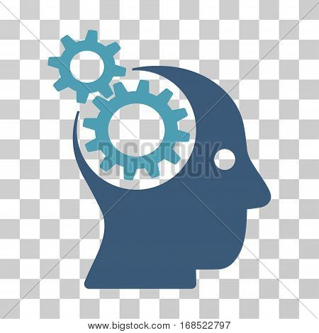 Intellect Gears icon. Vector illustration style is flat iconic bicolor symbol, cyan and blue colors, transparent background. Designed for web and software interfaces.