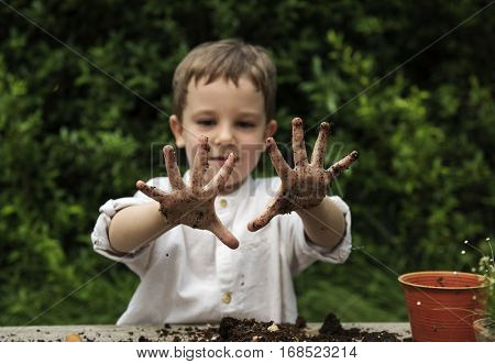 Kid Nature Mud Exploring Fun Concept