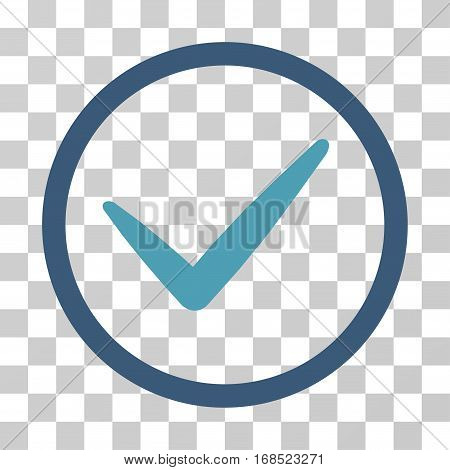 Ok icon. Vector illustration style is flat iconic bicolor symbol, cyan and blue colors, transparent background. Designed for web and software interfaces.
