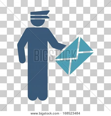 Postman icon. Vector illustration style is flat iconic bicolor symbol, cyan and blue colors, transparent background. Designed for web and software interfaces.
