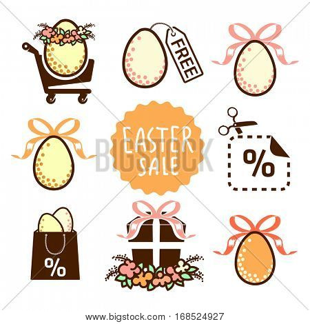 Easter sale icons collection - design elements for holidays advertising and tags