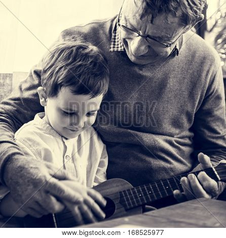 Ukulele Child Grandparent Together Family