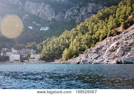 Seascape of Turunc bay of Marmaris Aegean mediterranean sea and mountains