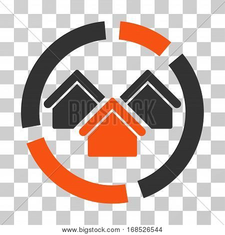 Realty Diagram icon. Vector illustration style is flat iconic bicolor symbol, orange and gray colors, transparent background. Designed for web and software interfaces.