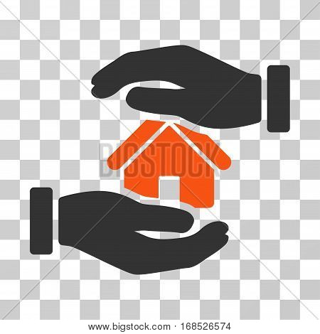 Realty Insurance icon. Vector illustration style is flat iconic bicolor symbol, orange and gray colors, transparent background. Designed for web and software interfaces.