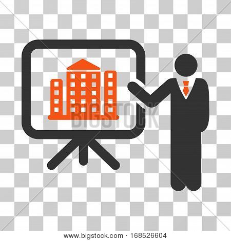 Realty Presention icon. Vector illustration style is flat iconic bicolor symbol, orange and gray colors, transparent background. Designed for web and software interfaces.
