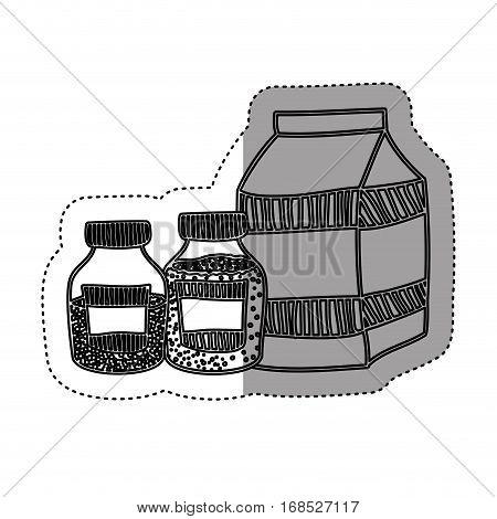 sticker silhouette box milk with bottles salt and pepper vector illustration