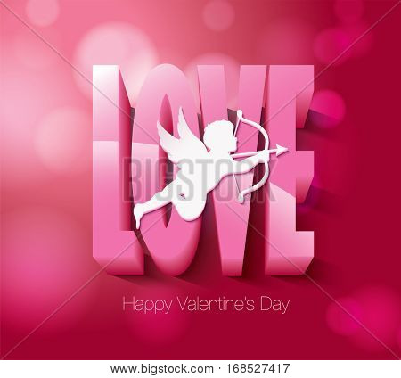 Valentine's day with cupid. Vector illustration