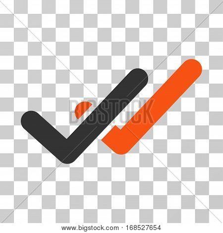 Validation icon. Vector illustration style is flat iconic bicolor symbol, orange and gray colors, transparent background. Designed for web and software interfaces.