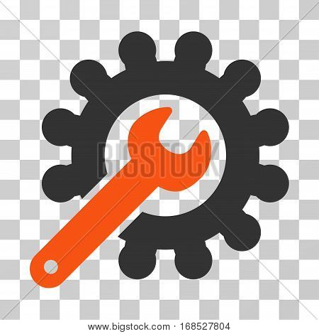 Wrench And Gear Customization Tools icon. Vector illustration style is flat iconic bicolor symbol, orange and gray colors, transparent background. Designed for web and software interfaces.